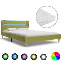 vidaXL gulta ar LED un matraci, zaļš audums, 120x200 cm