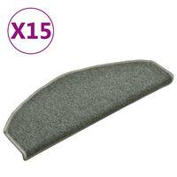 vidaXL kāpņu paklāji, 15 gab., 65x24x4 cm, tumši zaļi