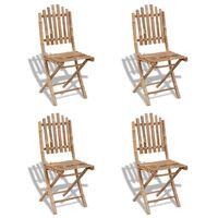 vidaXL saliekami dārza krēsli, 4 gab., bambuss