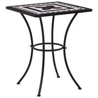 vidaXL mozaīkas bistro galds, 60 cm, melns ar baltu, keramika
