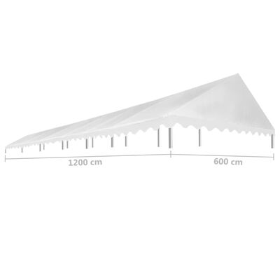 vidaXL dārza nojumes jumts, 6x12 m, balts, 450 g/m²