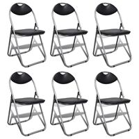 vidaXL virtuves krēsli, saliekami, 2 gab., melna mākslīgā āda, tērauds