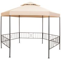 vidaXL dārza nojume, paviljona telts, 323x265 cm, sešstūraina, bēša