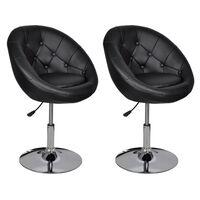 vidaXL bāra krēsli, 2 gab., melna mākslīgā āda