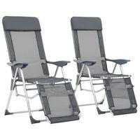 vidaXL saliekami kempinga krēsli, 2 gab., kāju balsts, pelēki