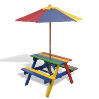 vidaXL bērnu piknika galds ar soliem, saulessargu, daudzkrāsains, koks