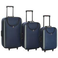 vidaXL mīkstie koferi ar riteņiem, 3 gab., tumši zils oksforda audums