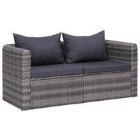 vidaXL dārza stūra dīvānI, 2 gab., pelēka mākslīgā rotangpalma