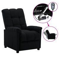 vidaXL elektrisks atpūtas krēsls, atgāžams, melns audums