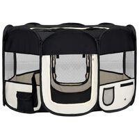 vidaXL saliekama suņu sētiņa, ar somu, melna, 125x125x61 cm