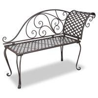 vidaXL dārza guļamkrēsls, 128 cm, tērauds, antīki brūns