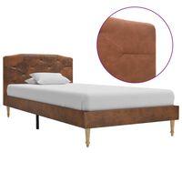 vidaXL gultas rāmis, brūna mākslīgā zamšāda, 90x200 cm