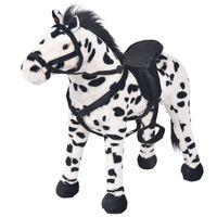 vidaXL rotaļu zirgs, XXL, plīšs, melns ar baltu