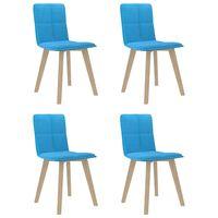 vidaXL virtuves krēsli, 4 gab., zils audums