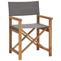 vidaXL režisora krēsls, masīvs tīkkoks, pelēks