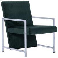 vidaXL atpūtas krēsls ar hromētām kājām, tumši zaļš samts
