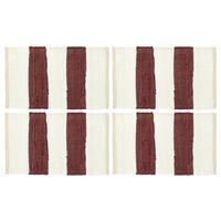 vidaXL Chindi galda paliktņi, 4 gab,. vīnsarkani un balti, 30x45 cm