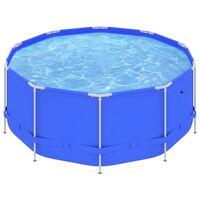 vidaXL peldbaseins ar tērauda rāmi, 367x122 cm, zils