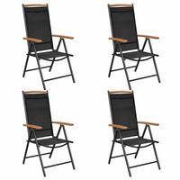 vidaXL saliekami dārza krēsli, 4 gab., alumīnijs un tekstilēns, melni