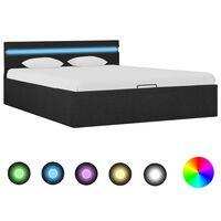 vidaXL gultas rāmis ar LED, hidraulikas mehānisms, audums, 140x200 cm