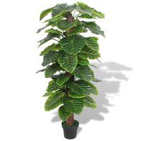 vidaXL mākslīgais augs, kolokāzija ar podiņu, 145 cm, zaļa