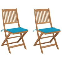 vidaXL saliekami dārza krēsli ar matračiem, 2 gb., akācijas masīvkoks