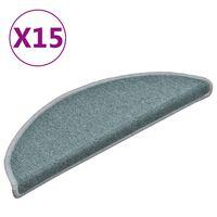 vidaXL kāpņu paklāji, 15 gab., 56x17x3 cm, zili