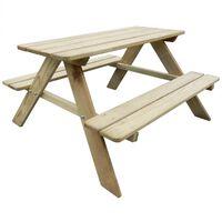 vidaXL bērnu piknika galds, 89 x 89,6 x 50,8 cm, priedes koks
