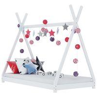 vidaXL bērnu gultas rāmis, balts, 90x200 cm, priedes masīvkoks