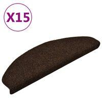 vidaXL kāpņu paklāji, 15 gab., pašlīmējoši, 65x21x4 cm, brūni