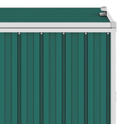 vidaXL trīsdaļīga nojume atkritumu konteineriem, zaļa, 213x81x121 cm