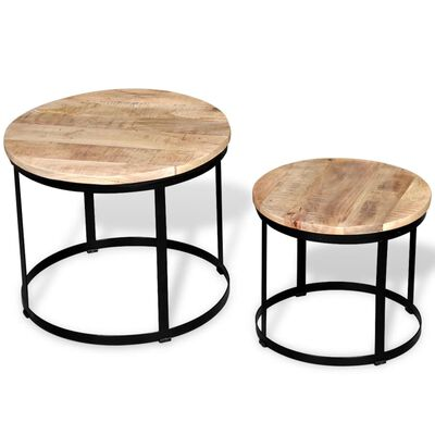vidaXL kafijas galdiņi, 2 gab., apaļi, mango koks, 40 cm/50 cm