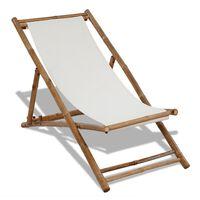 vidaXL pludmales krēsls, bambuss un audekls