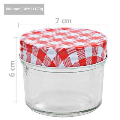 vidaXL ievārījuma burciņas, balti sarkani vāciņi, 48 gab., 110 ml