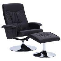 vidaXL atpūtas krēsls ar kāju soliņu, atgāžams, melna mākslīgā āda