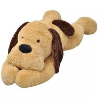 vidaXL rotaļu suns, brūns plīšs, 120 cm