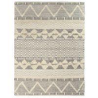 vidaXL paklājs, austs ar rokām, vilna, 80x150 cm, balts/pelēks/melns