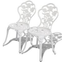 vidaXL bistro krēsli, 2 gab., liets alumīnijs, balti