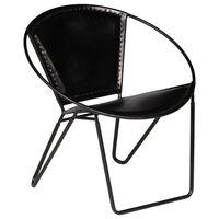 vidaXL krēsls, melna dabīgā āda
