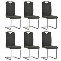 vidaXL konsoles virtuves krēsli, 6 gab., pelēka mākslīgā āda