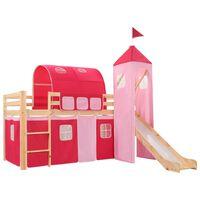 vidaXL bērnu gulta ar slidkalniņu un trepēm, priedes koks, 208x230 cm