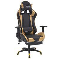 vidaXL atgāžams biroja krēsls ar kāju balstu, melns ar zeltu