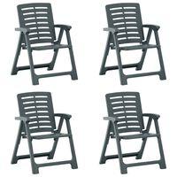 vidaXL dārza krēsli, 4 gab., zaļa plastmasa