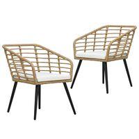 vidaXL dārza krēsli, 2 gab., ar matračiem, PE rotangpalma, gaiši brūni