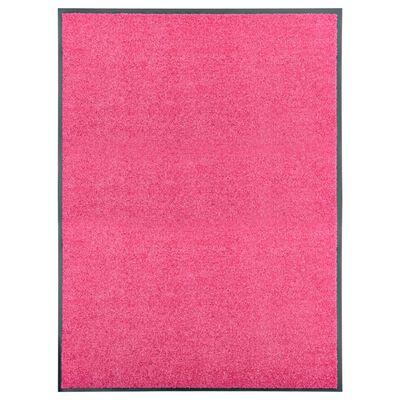vidaXL durvju paklājs, mazgājams, rozā, 90x120 cm
