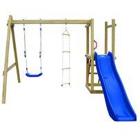 vidaXL rotaļu laukums ar slidkalniņu, kāpnēm, šūpolēm, koks