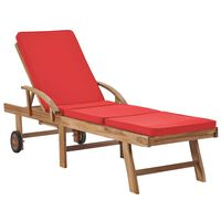 vidaXL sauļošanās zvilnis ar matraci, masīvs tīkkoks, sarkans