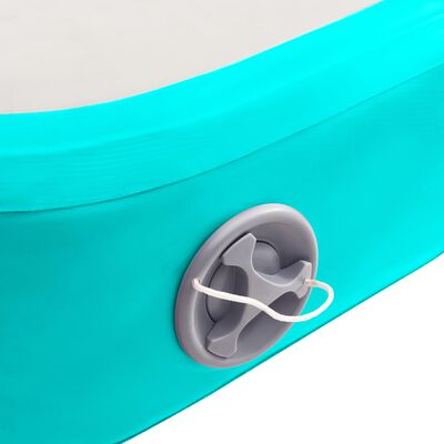 vidaXL piepūšams vingrošanas paklājs ar pumpi, 500x100x15 cm, zaļš PVC