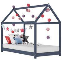vidaXL bērnu gultas rāmis, pelēks, 80x160 cm, priedes masīvkoks