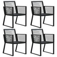 vidaXL dārza krēsli, 4 gab., rotangpalmas auklas, melni